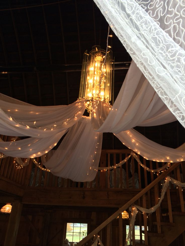 Ceiling treatment in the barn . Snodes restored barn Minerva Ohio . Decor by the willows by Wehr , columbiana oh florist .330.482.2223