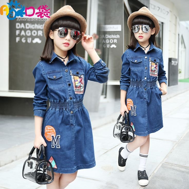 ==> [Free Shipping] Buy Best New 2017 Striped Patchwork Character Girl Dresses Long Sleeve Cute M Children Clothing Kids Girls Dress Denim Kids Clothes Online with LOWEST Price | 32794772131