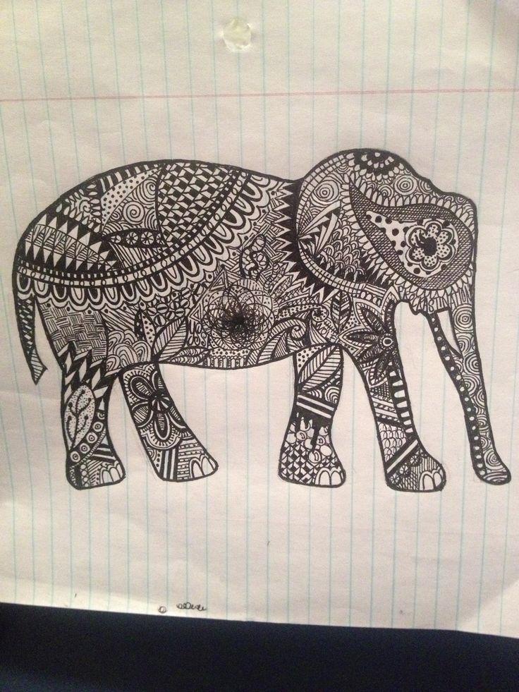 Zentangle elephant Pinterested Art Zentangle