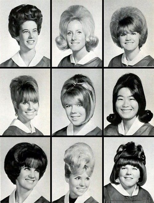 "Watch out for that hair! Class of '67. Top upper right hair do is called the ""Bubble"" as is the bottom lower left. Lots of teasing and hair spray. Roller sets, sitting under the hair dryer or sleeping on hard or bristle hair rollers and hoping your hair would be dry by morning ."