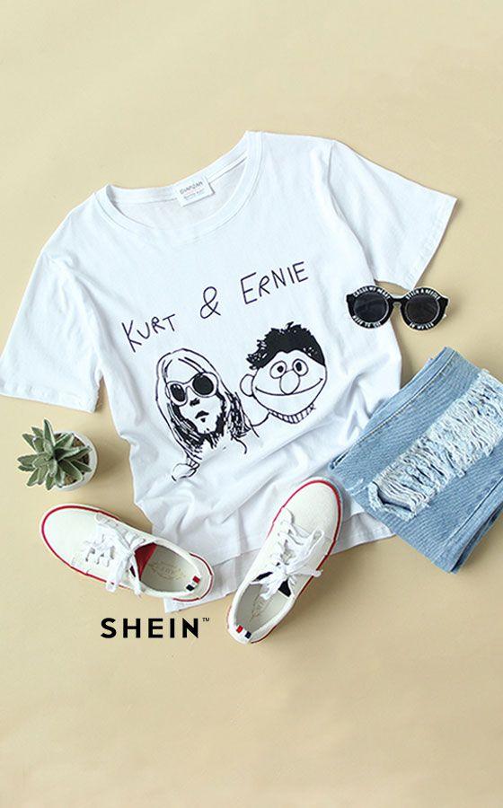 Dip Hem Cartoon Print White T-Shirt