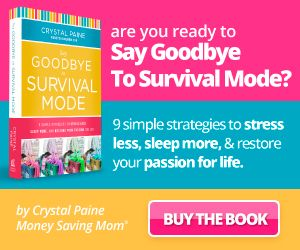 Buy Say Goodbye to Survival Mode by Crystal Paine by Jan 26th and she will send you a free DaySpring Flip Calendar as she is so sure it will help your life. Christian Mom of MoneySavingMom