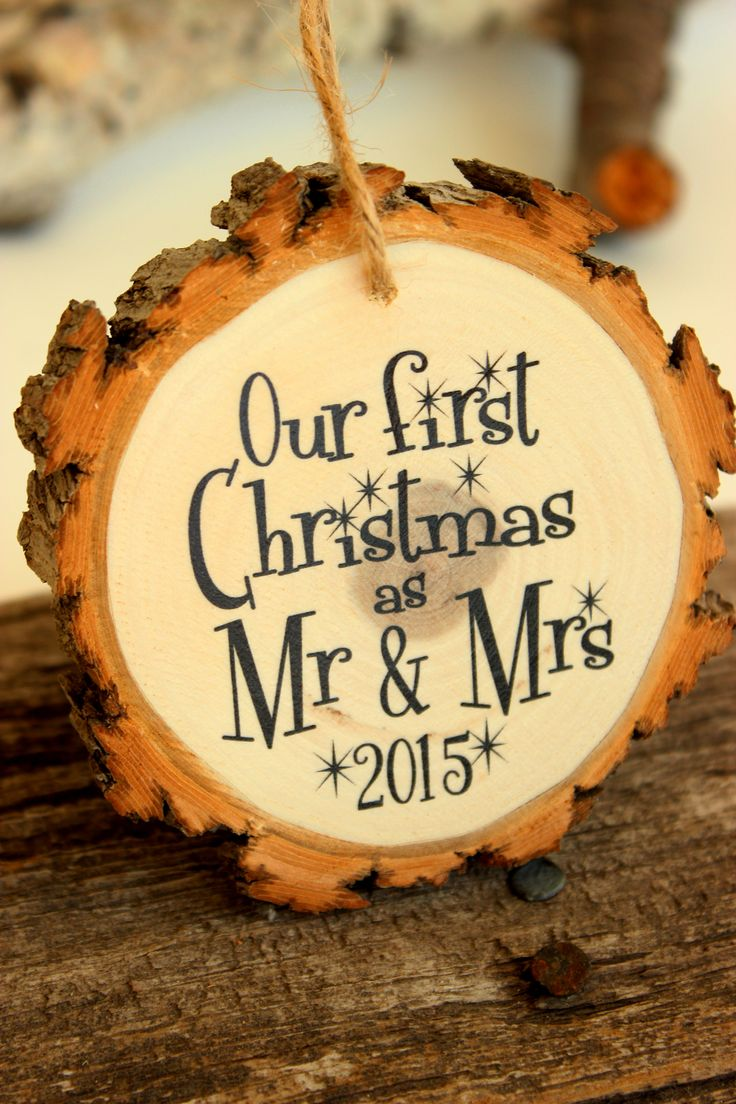 Our First Christmas Ornament #modernornament #woodornament #mrandmrs