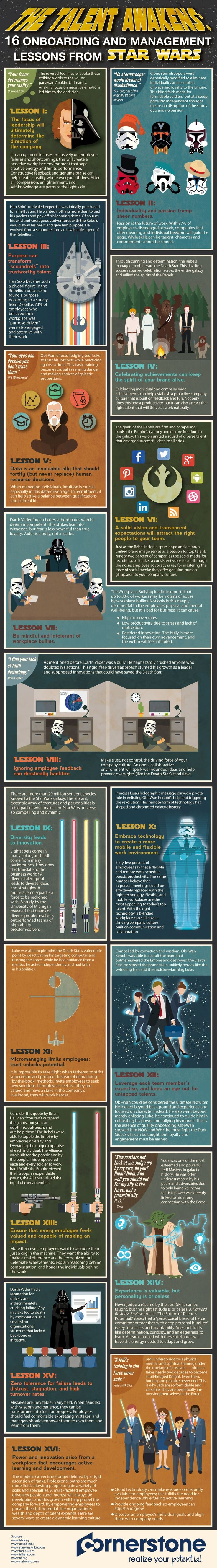 The Talent Awakens: 16 Onboarding and Management Lessons From Star Wars #infographic #Management #Starwars