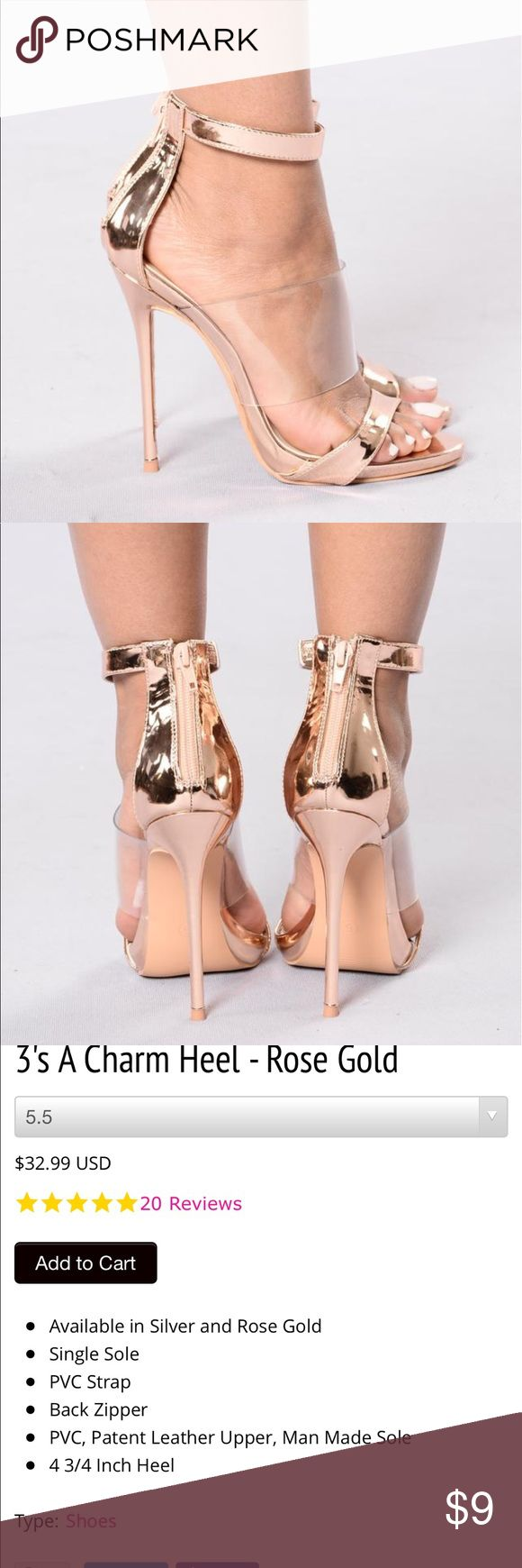 Fashion nova rose gold clear high heels size 8.5 Fashion nova rose gold clear high heels size 8.5 worn once please view all pics for flaws  True to size   Bought from fashion nova brand is so me Fashion Nova Shoes Heels