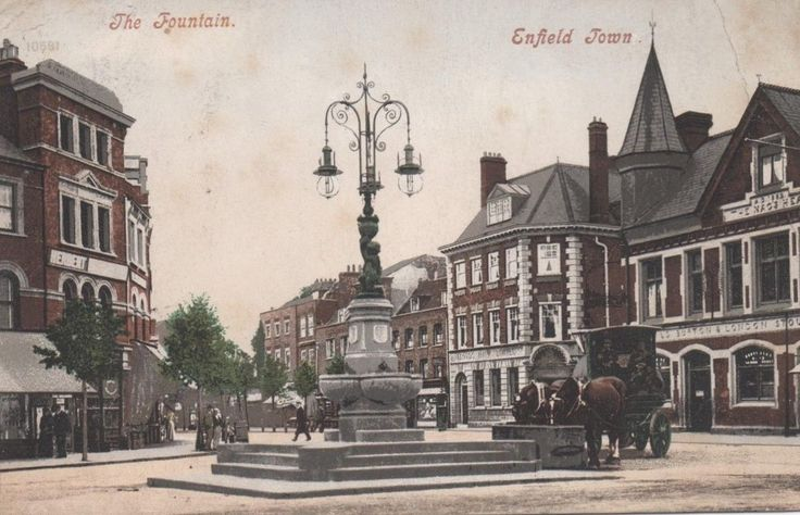 The fountain and horse trough Enfield Town centre, pre - automobile.