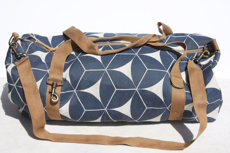 bag - 70x40 cotone blu a stelle bianche finiture cotone spigato beiges