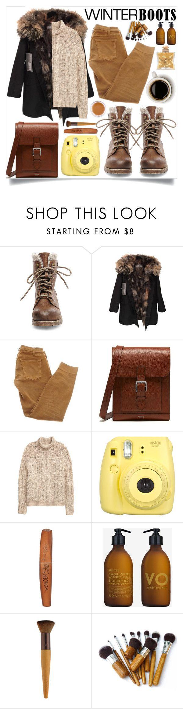 """""""So Cozy: Winter Boots"""" by lenochca ❤ liked on Polyvore featuring Steve Madden, Yves Salomon, Current/Elliott, Mulberry, H&M, Fujifilm, Rimmel, Hermès, La Compagnie de Provence and Anastasia Beverly Hills"""