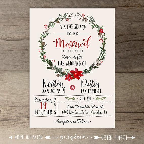 Winter Wedding Invitations • Wreath • 'Tis the Season to be Married • DIY Printable