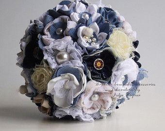 Denim wedding bouquet by UnusualBouquets on Etsy