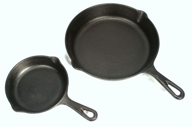 "VINTAGE PHILLIPE RICHARD TRADITIONAL CHEF CAST IRON 10"" & 6"" SKILLET FRYING PAN  #PHILLIPERICHARD"
