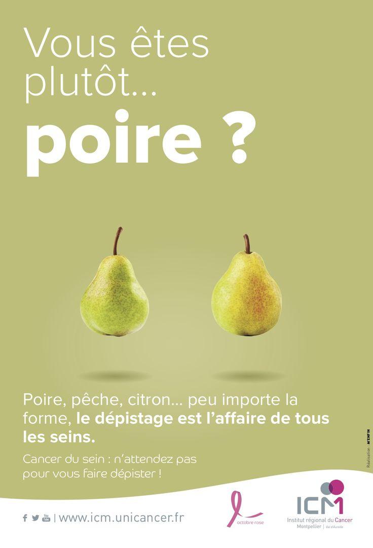 « Poire, pêche, citron…peu importe la forme, le dépistage est l'affaire de tous les seins » voici une des phrases de la campagne de communication de l'ICM Montpellier. #OcotbreRose #Dépistage #CancerDuSein