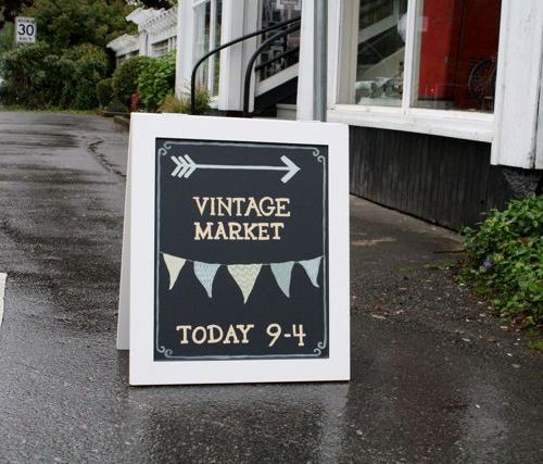 DIY chalkboard signs for business. Made out of wood squares and bed boards.