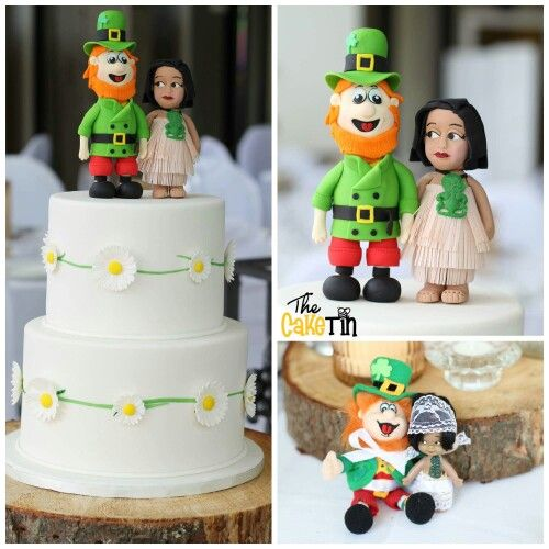 Leprechaun and Manu doll Wedding Cake