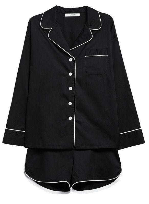This black pajama set is a fashion girls dream. We love this chic black Sleeper Pajama Shorts Set