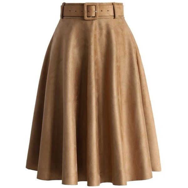 Chicwish Belted Suede A-line Skirt in Tan ($47) ❤ liked on Polyvore featuring skirts, bottoms, brown, jupes, brown skirt, suede a line skirt, tan suede skirt, a line skirt and midi skirt