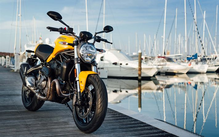 Download wallpapers Ducati Monster 821, 2018, new motorcycles, yellow new Monster, sportbike, Italian motorcycles, bay, yachts, Ducati