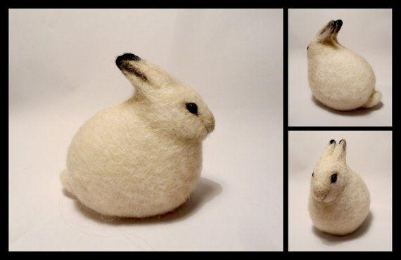 Needle felted arctic hare by Earfox on Etsy