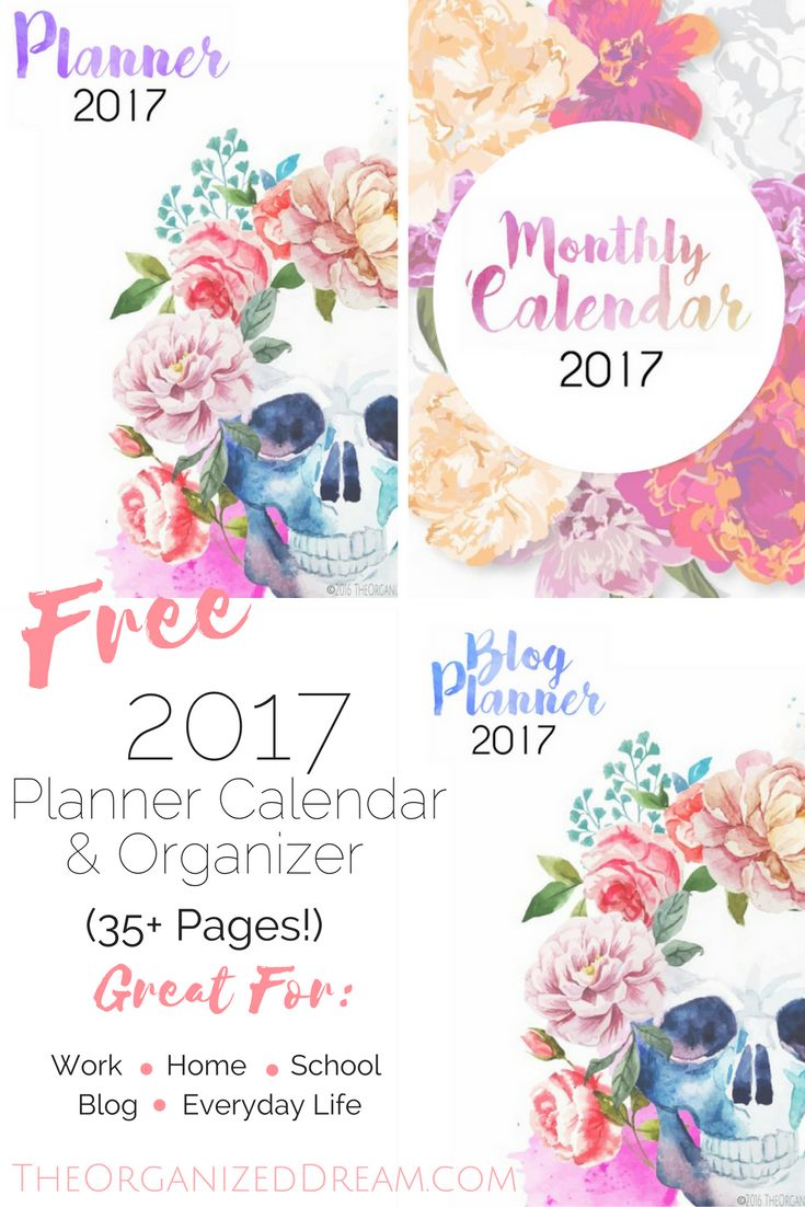 Get organized in 2017 with this free personal planner. Blog? Get a free blog planner, too with everything you will need! Don't forget the 12 month calendar to display anywhere or add to your own planner!