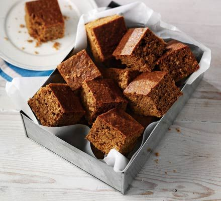 Parkin, a traditional sponge cake from Northern England flavored with syrupy molasses, oatmeal, and ginger.