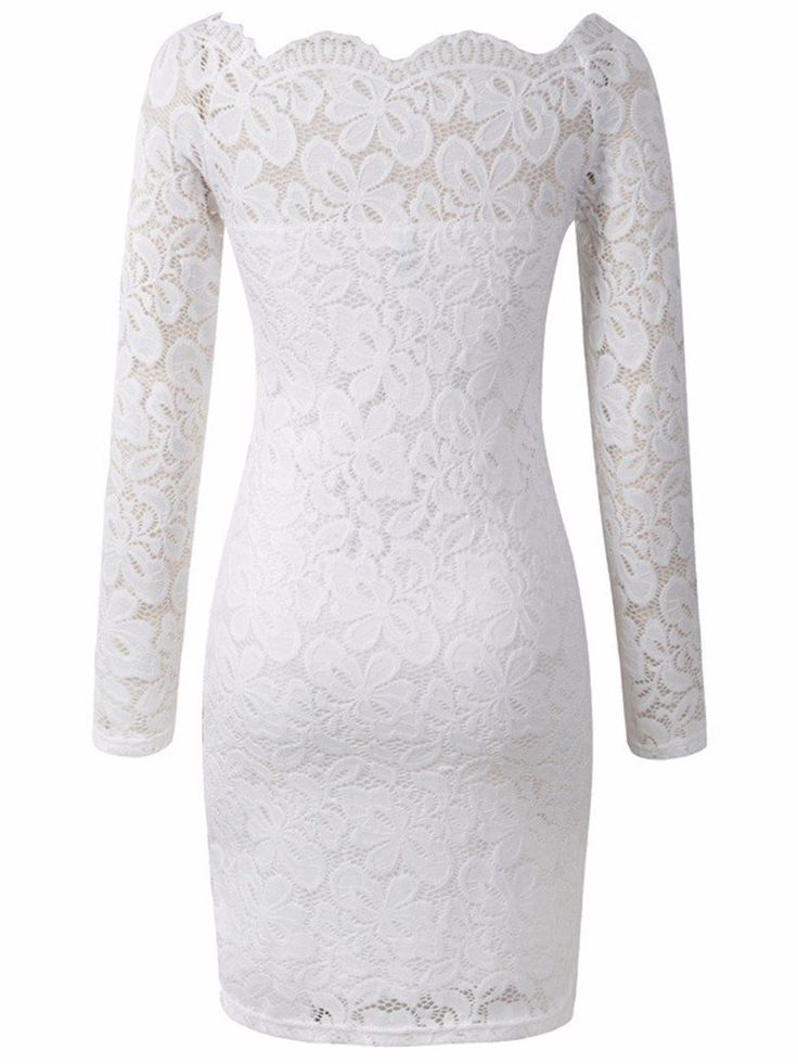 Women Sexy Lace Hollow Out Floral Embroidery Patchwork Bodycon Dress at Banggood