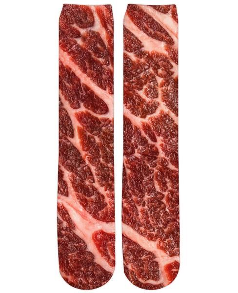Celebrate your love of beef with these all over printed knee high socks. Perfectly marbled meat, just like yourself.