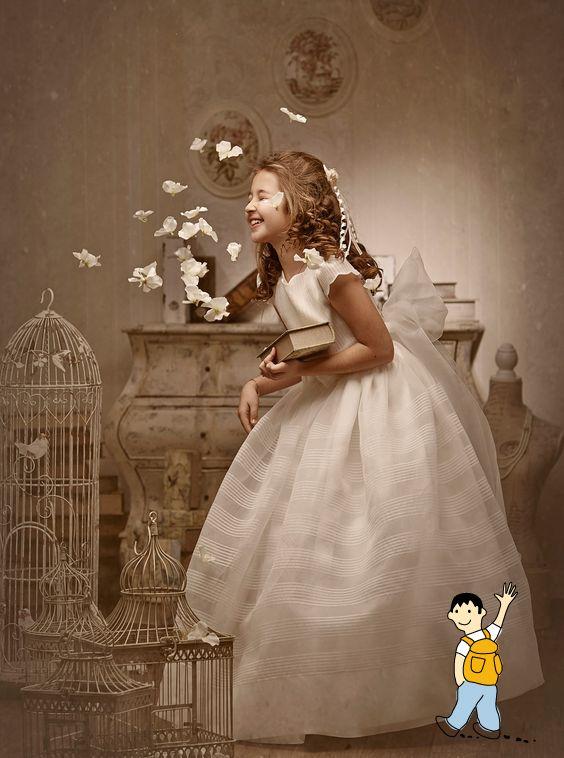 Vestido niña primera comunión. Ideas fotografías originales comunión niña.
