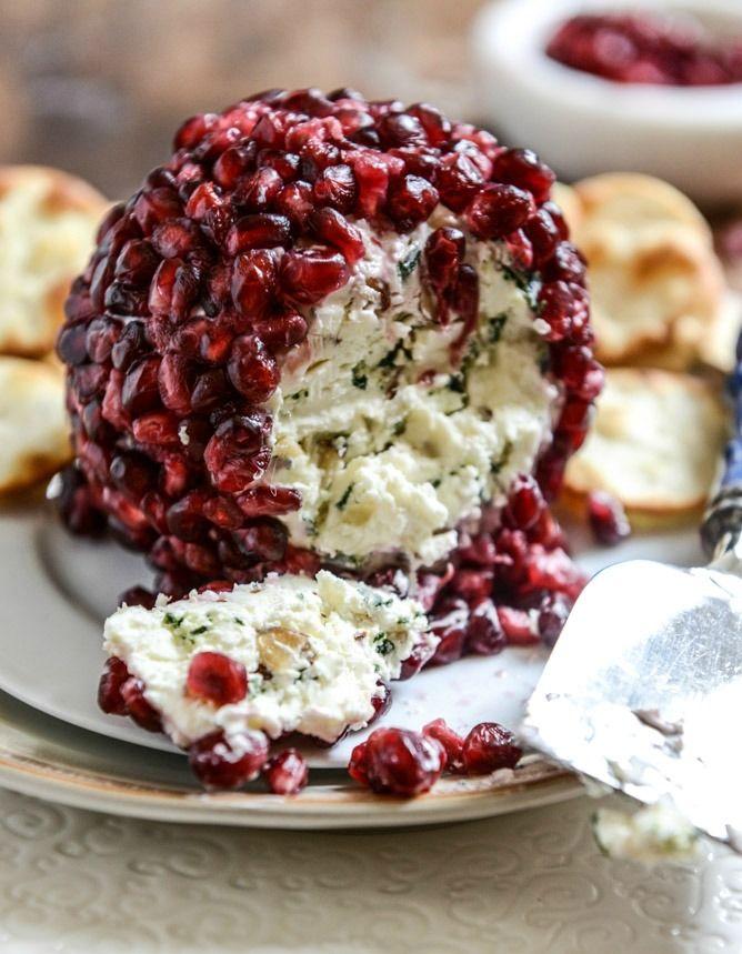 Pomegranate Jeweled White Cheddar, Toasted Almond and Crispy Sage Cheeseball I howsweeteats.com