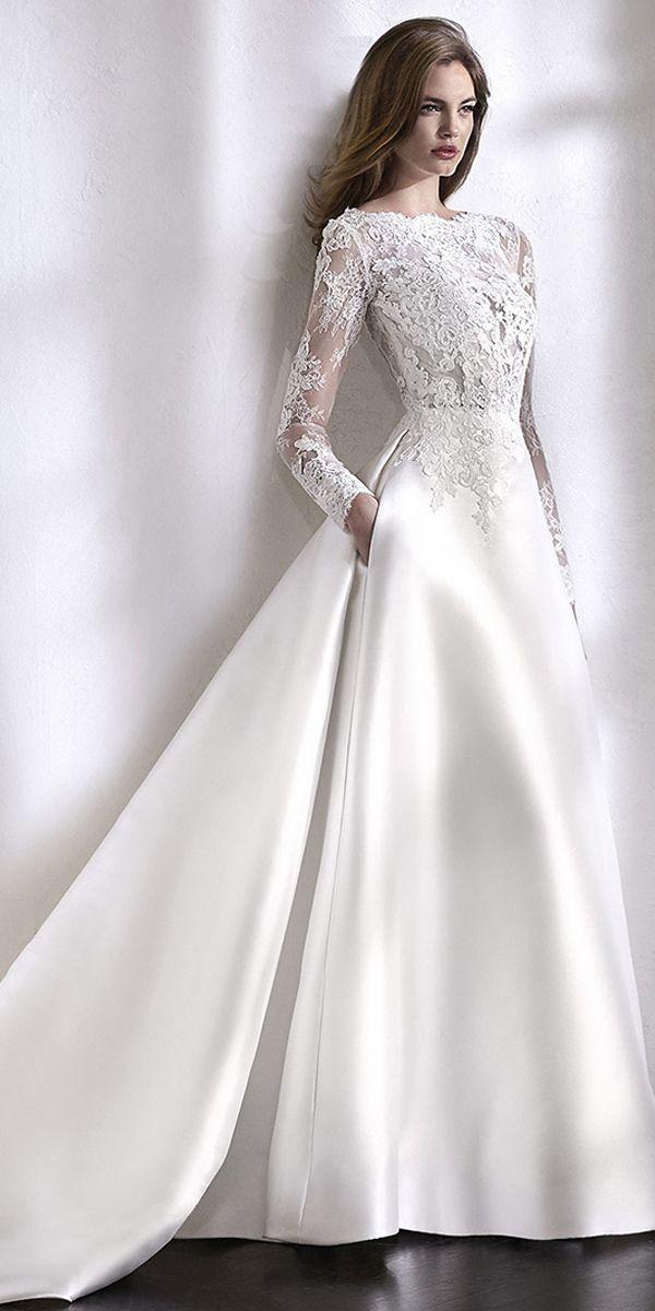 Elegantes Tüll & Satin Bateau Ausschnitt A-Linie Brautkleid mit Spitzenapplikationen & …   – Wedding dresses