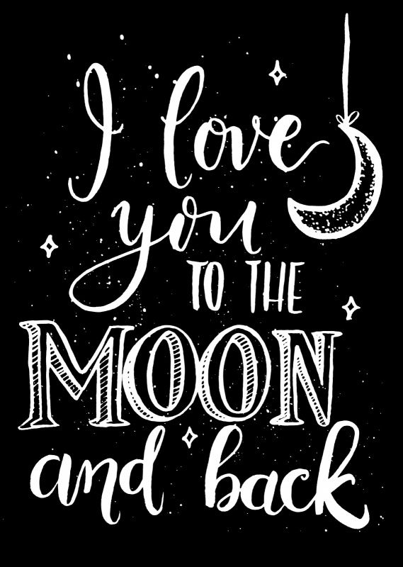Kaart I love you Ansichtkaart in zwart-wit met quote I love you to the moon and back