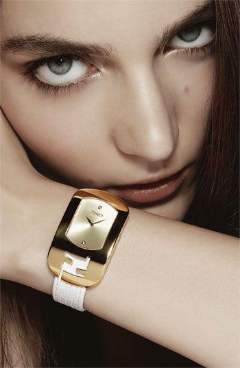 #Fendi  'Large Chameleon' Leather Strap Watch #PurelyInspiration