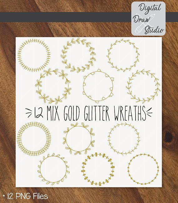 12 Gold Glitter Wreaths Clip Art  Round Hand Drawn Frame