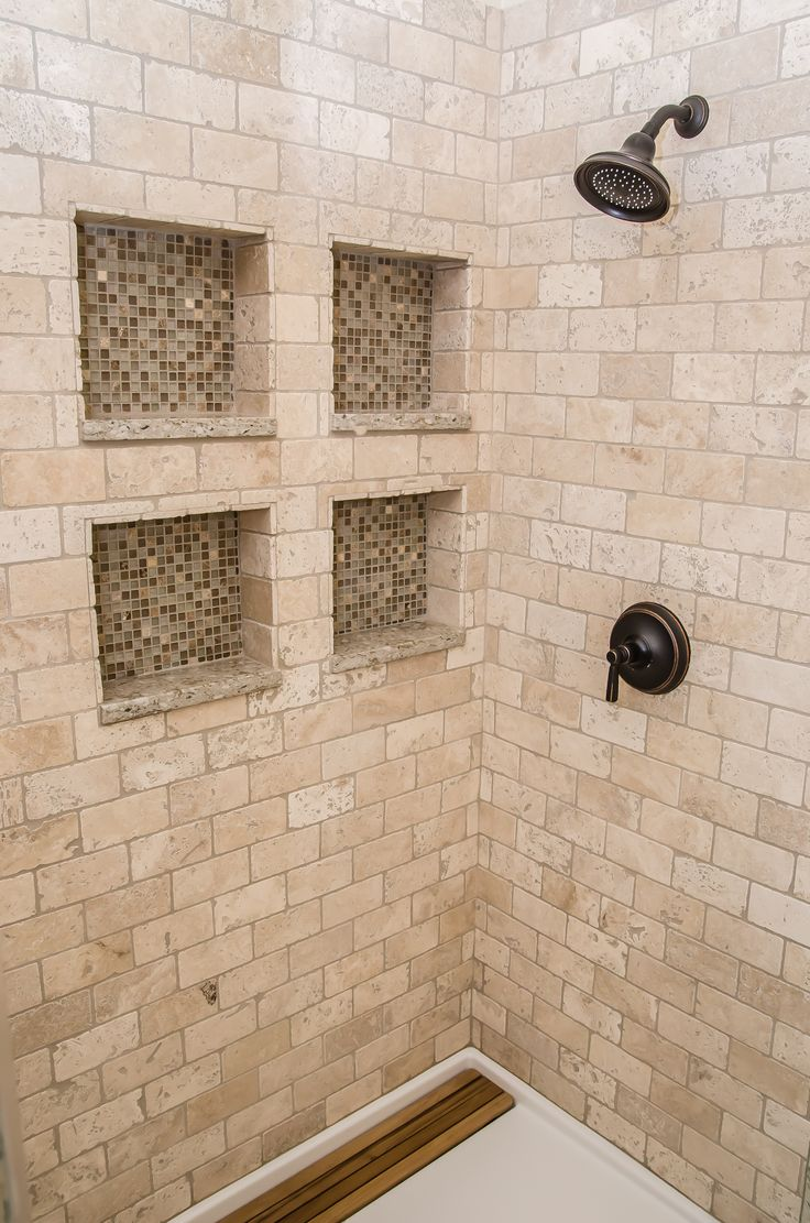 Inside the shower with tumbled marble and glass tiled for Tumbled glass tile