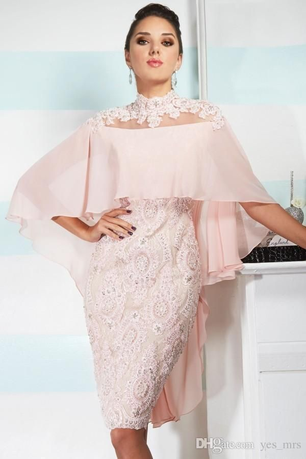 6b692fe22def 2019 Sexy Mother Off Bride Dresses High Neck Pink Chiffon Lace Applique  Beaded With Cape Custom Sheer Back Wedding Plus Size Mothers Dress Cheap  Mother Of ...