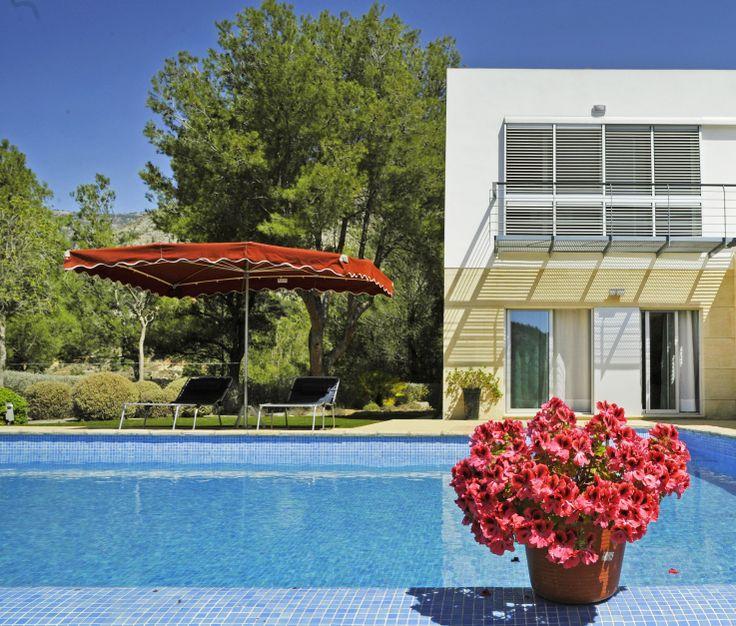 Zwembad en terras met parasol.