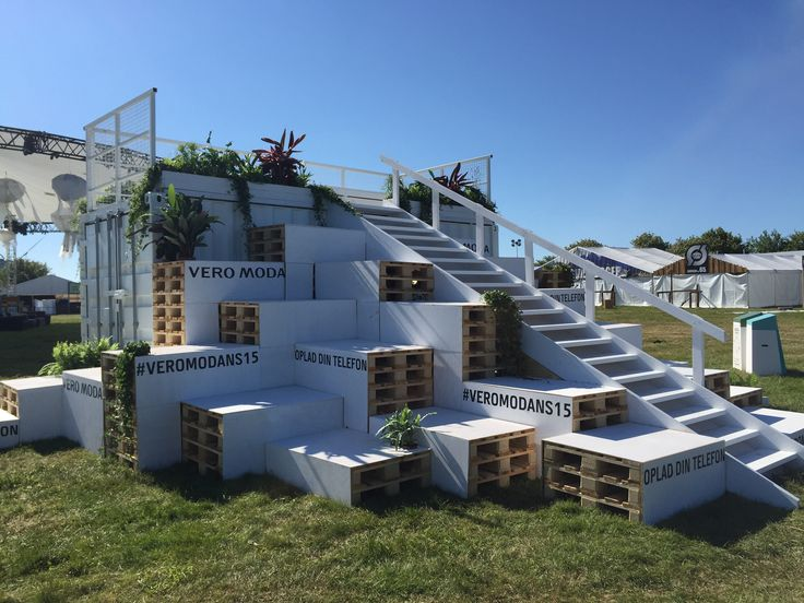 NorthSide 2015, Aarhus, Denmark - seating area and lounge made of pallets stacked by A shipping container