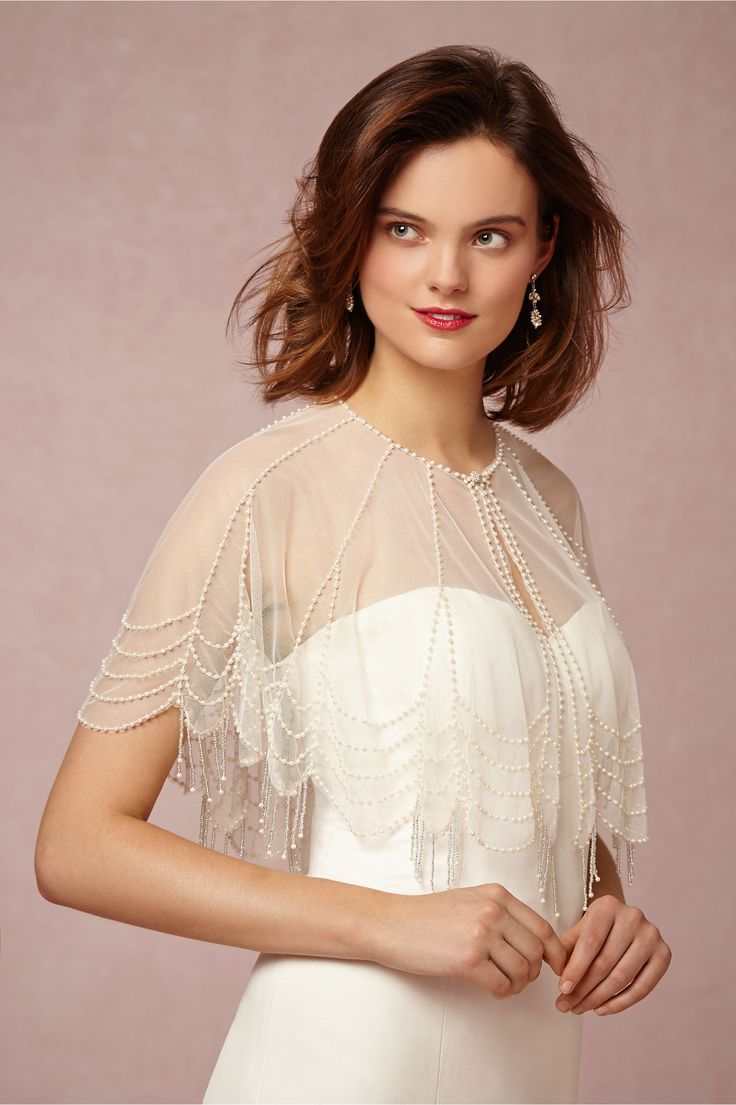 Trickling Pearl Capelet in Bride Bridal Cover Ups at BHLDN
