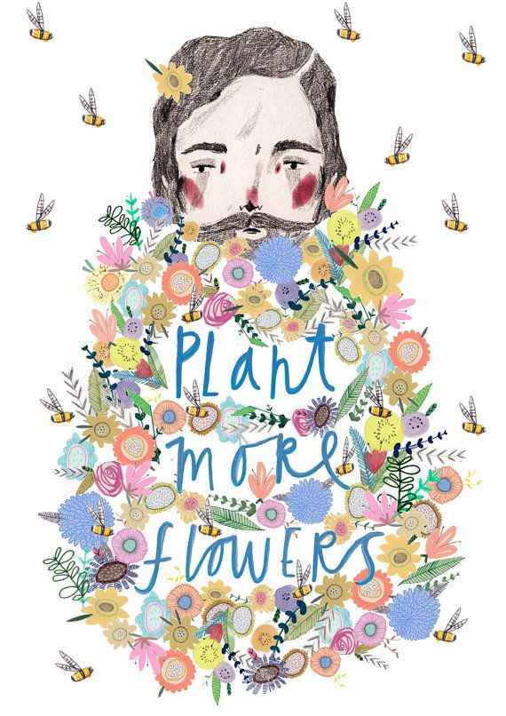 Plant more flowers. Illustration Print. by Amyislaillustration, illustration, art, print, wall decor, wall print, art print, decor, interior, poster, print, bees posters, commercial illustration, amyisla, illustrator, art of the day, hipster art, hipster bear, beard man,