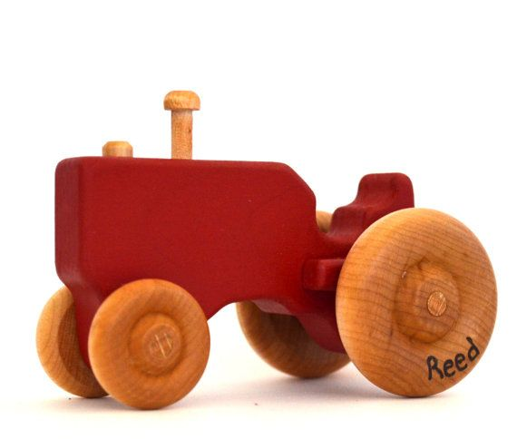 Red Wooden Toy Tractor  Push Toy  Personalized Wood by hcwoodcraft, $17.00