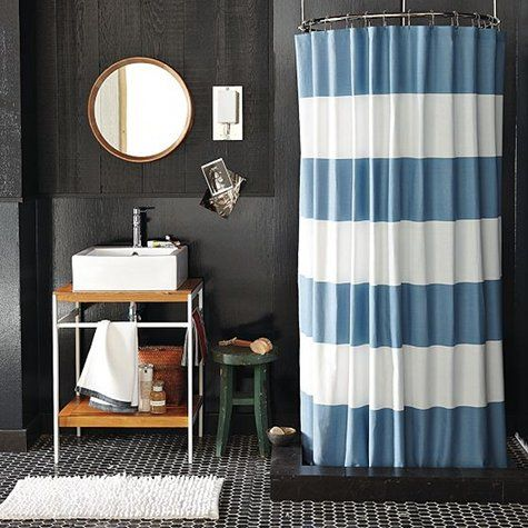 love the shower curtain: Boys Bathroom, Guest Bathroom, Small Bathroom, Bathroom Ideas, White Bathroom, Stripes Shower Curtains, Bathroom Shower, West Elm, Gray Bathroom