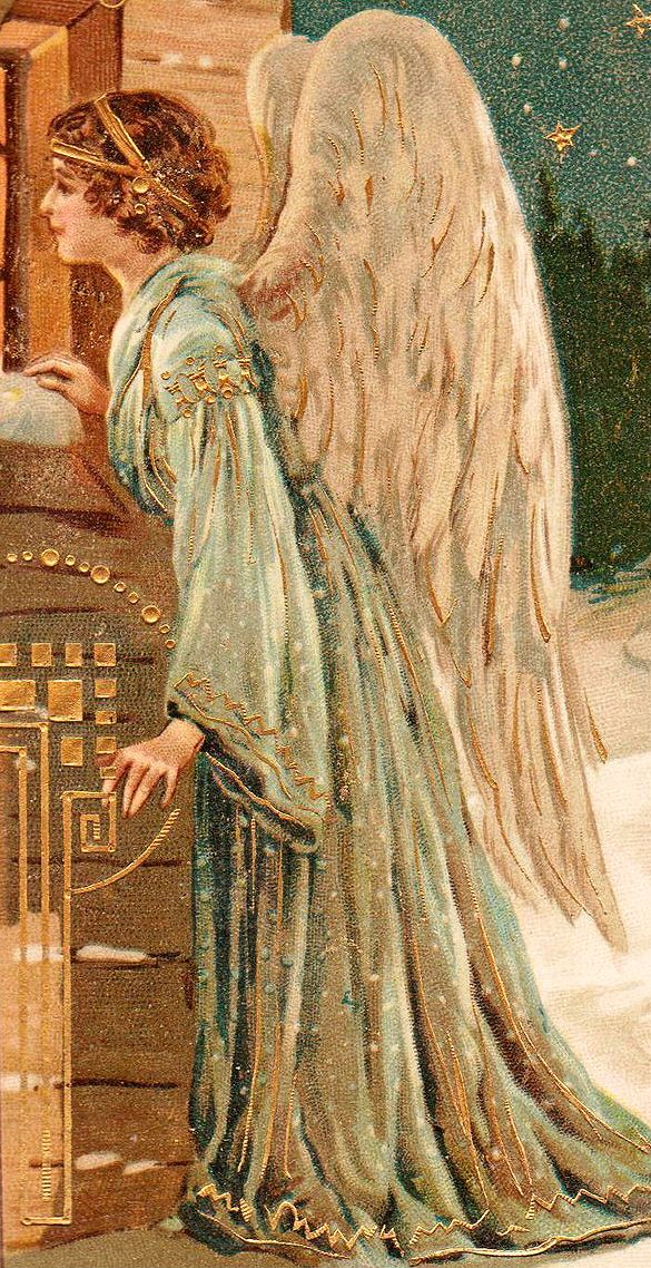 .Victorian Christmas angel ck the gold design by her hand is interesting and is painted on afterward.