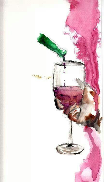 En acuarela copa de vino tinto