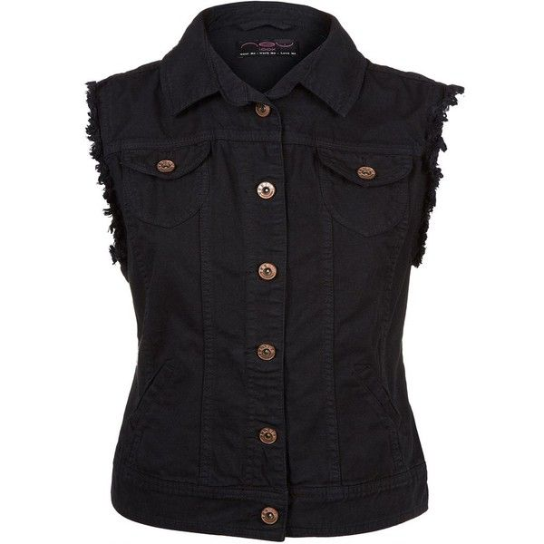 Black Sleeveless Denim Jacket ($11) ❤ liked on Polyvore featuring outerwear, jackets, tops, vests, shirts, black, denim jacket and jean jacket