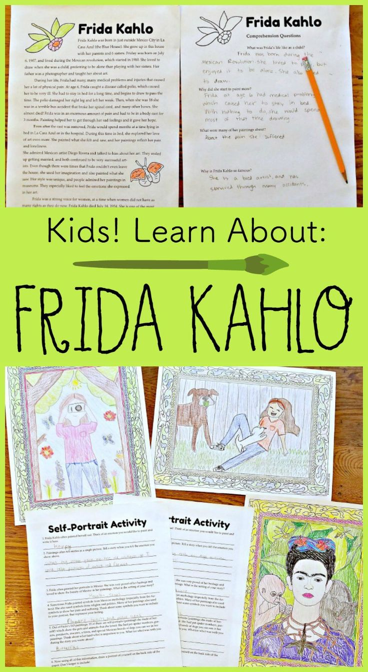 Frida Kahlo is the most famous Mexican female artist. Kids can learn about Frida Kahlo through these readings and books, exploring her biography and history, and then with a wonderful self-portrait activity. Great for a Mexico Unit, Hispanic cultural studies, Spanish class, female artists, multicultural art, or an ELA unit.