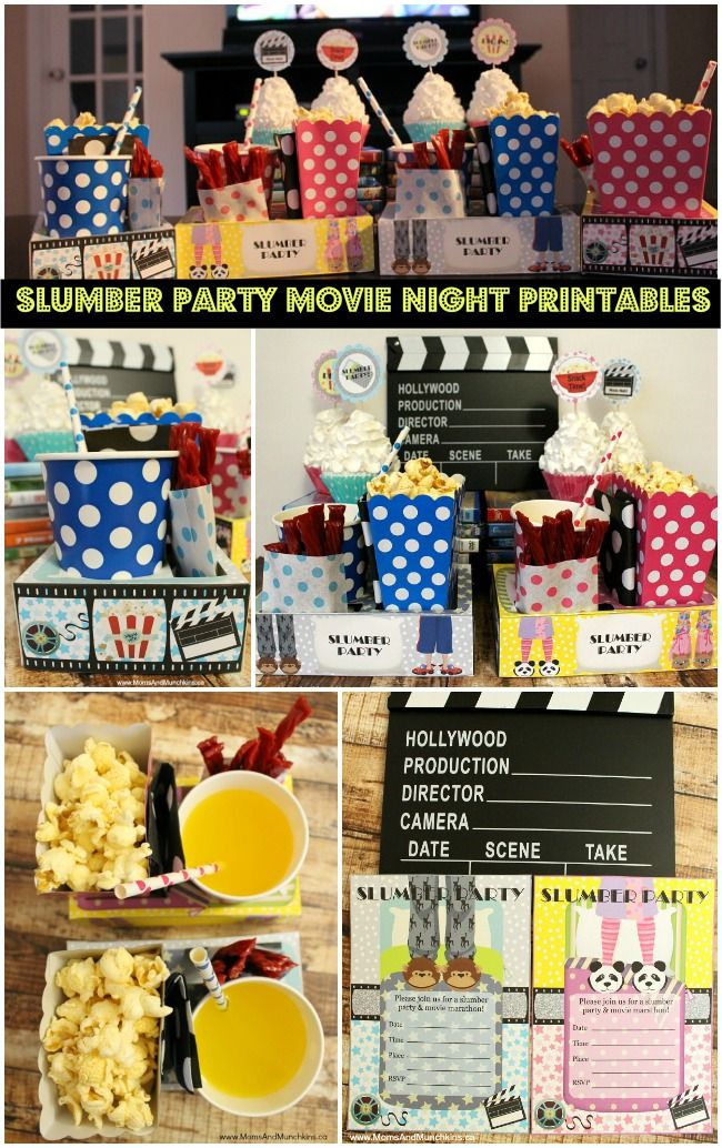 Slumber Party Printables - Movie Marathon Party: Set includes adorable snack box trays, cupcake circles, invitation and favor tags. Two sets - one for boys and one for girls.