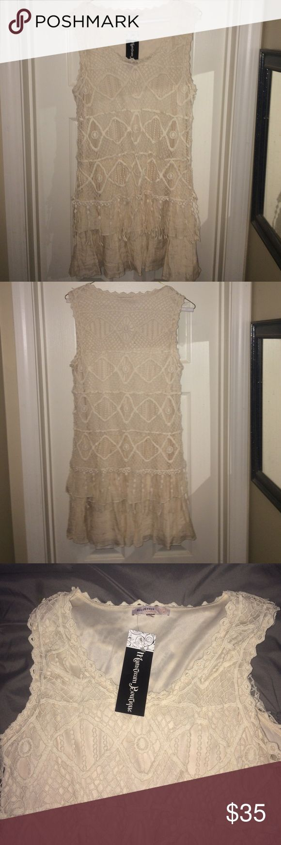 Cute Boho Dress Never worn, super cute, cream boho dress. Fun to wear to a festival or concert! Can be worn alone as a dress or with a cute jean jacket, or cardigan! Blu Pepper Dresses