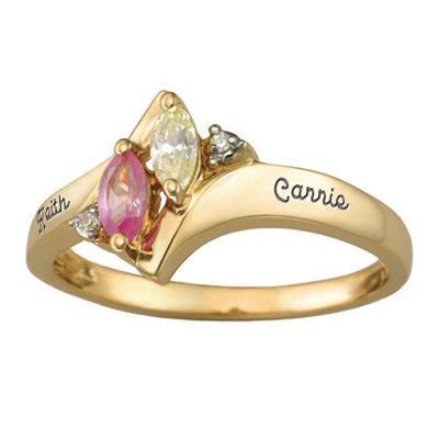 10K Gold Simulated Birthstone and Cubic Zirconia Duet Ring by ArtCarved® (2 Stones and 2 Names)