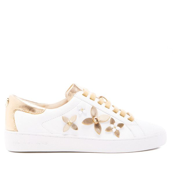 MICHAEL MICHAEL KORS Women's Lola Flower Leather Trainers - Optic... (3,390 MXN) ❤ liked on Polyvore featuring shoes, sneakers, white, white low top sneakers, white leather sneakers, white lace up sneakers, white gold sneakers and white leather shoes