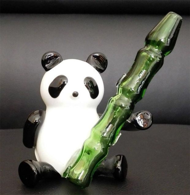 Panda with bamboo Glass Smoking Bowl