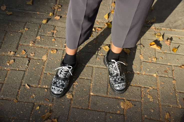 Asha from the Dr. Martens design department wearing the Mark Wigan 8053s.